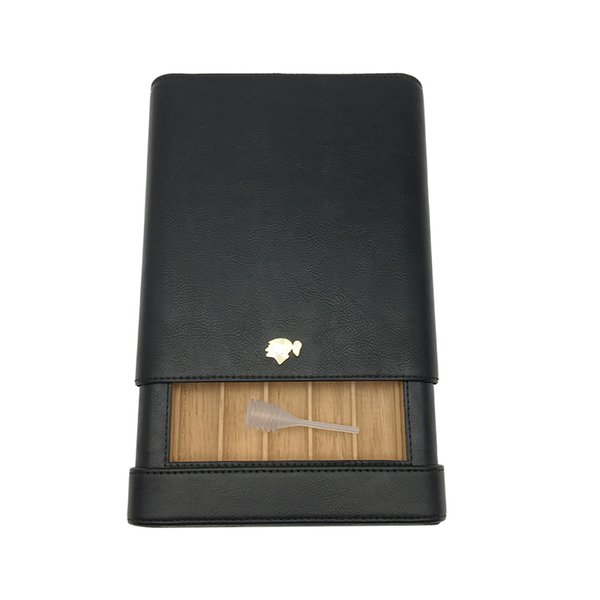 COHIBA Black Color Leather Wood Lining Cedar Holder 5 Tube Easy To Carry Travel Cigar Case Humidor