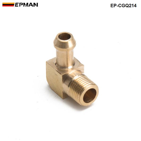 "top popular EPMAN-Brass Boost Hose Barb to Male Thread 90 Degree Elbow Fitting For Garrett T2 T3 Turbo 1 8""Male NPT 90 Degree EP-CGQ214 2021"