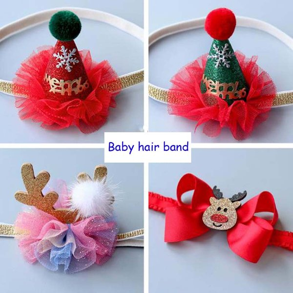 New Christmas baby hair band Christmas hat baby headdress full month infants hair accessories hair bands