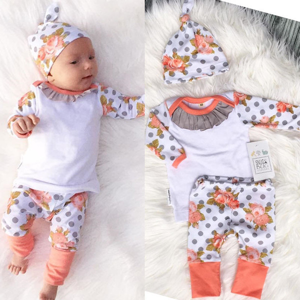 2016 Ins Hot Selling Baby Christmas Cotton Three Piece Sets Infant Toddlers Long Sleeve T-shirt+ Polka Dot Pants+Hat Clothes Suits