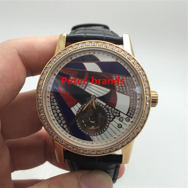 Reloj de tourbillon de la marca automática del envío gratis caja de diamantes de oro rosa cubierta de cristal del bisel relojes de control maestro de lujo