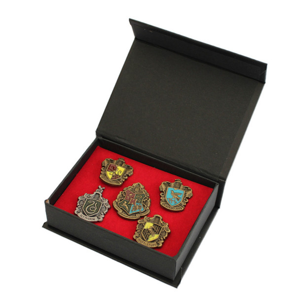 Harry Potter Insignia 5 Roles/Set Badge Metal Gryffindor Hufflepuff Slytherin Ravenclaw and Hogwarts Halloween Cosplay OTH612