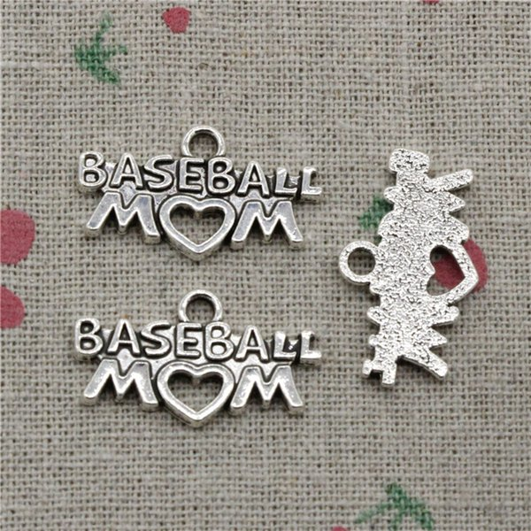 62pcs Charms baseball mom heart 15*27mm Antique Silver Pendant Zinc Alloy Jewelry DIY Hand Made Bracelet Necklace Fitting