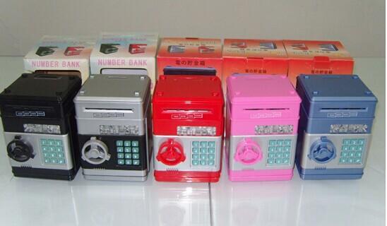 Gran caja de depósito de dinero automático con contraseña para caja fuerte Caja de ahorro para cajero automático Mini ahorros creativos seguros para juguetes