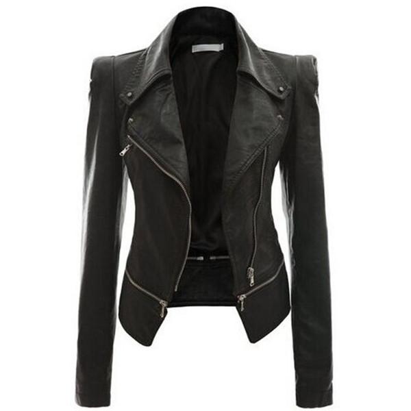 Toptan Satış - Toptan-Deri Kadın Coat Punk Hırka Artı Boyutu Sonbahar Kış Bombacı Ceket Casaco Feminino Temel Ceketler Kadın Giyim Giyim