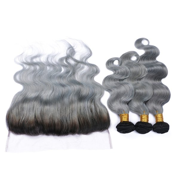 Full Lace Frontals With Brazilian Virgin Body Wave Hair Bundles Ombre #1B/Grey Two Tone Hair Weaves With Lace Frontal 4Pcs/lot