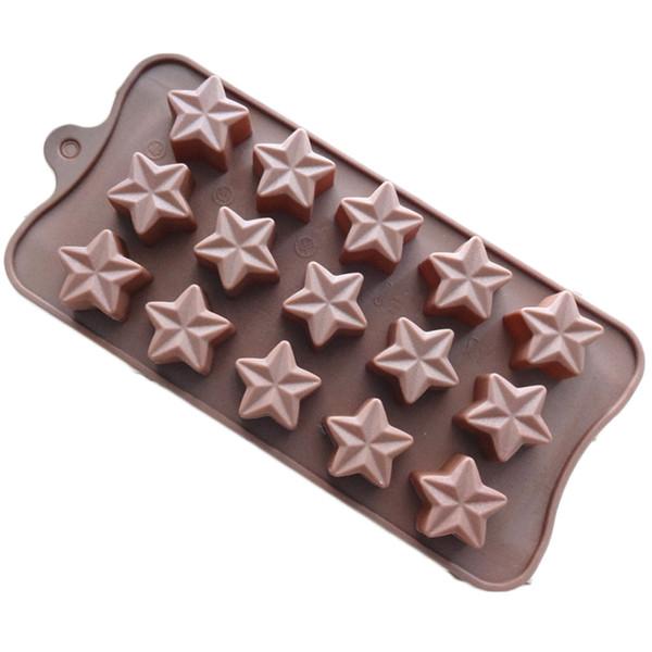 Mini forma de estrella Molde de pastel Smiley Chocolate Caramelo Molde para hornear Bandeja de cubitos de hielo Color aleatorio 15 cavidades por hoja
