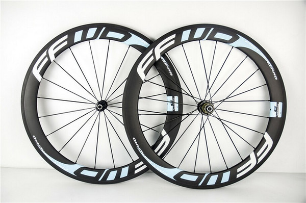 Benutzerdefinierte Farbe Ffwd 60mm 700c Hellblau Vollcarbon Road Bicycle Wheels Clincher Rohr Vollcarbon Bike Wheelset