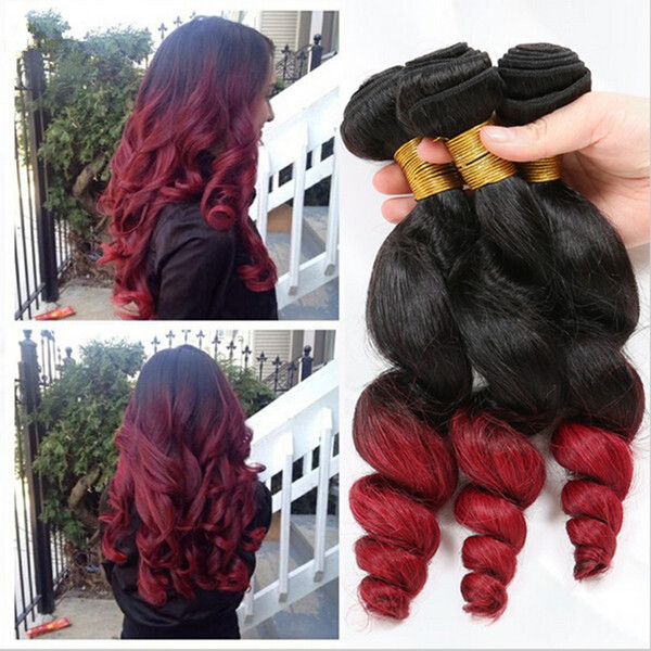 9a Cheap Ombre Hair Extensions Two Tone 1b Red Ombre Brazilian Loose