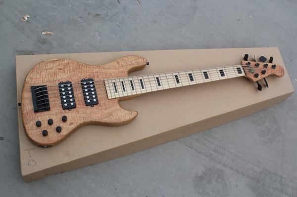 Custom Natural 6 cuerdas JazzBass Bass Guitarra eléctrica 9V Batería Pastillas activas Mástil de arce Bloque negro Diapasón Incrustación Negro