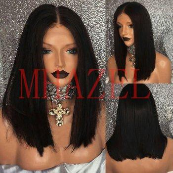 MHAZEL short bob straight style virgin hair lace front wig&full lace wig middle part 14inch real hair black hair