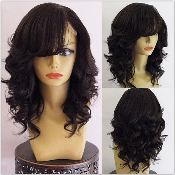 Top Quality Virgin Brazilian Body Wave Wavy Lace Front Wigs Glueless Full Lace Human Hair Wigs With Side Bangs 130% Density Bleached Knots