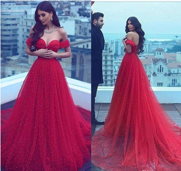 2017 Amazing Gorgeous Arabic Red Prom Dress Off-the-shoulder A-line Sweetheart Beading Court Train Evening Dress Formal Gowns