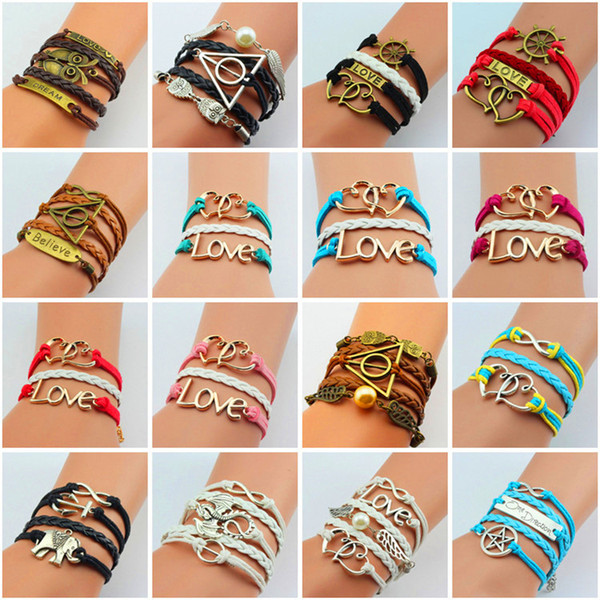 best selling Charms Jewelry Infinity Bracelets Leather Braid Owls Anchor Branch Lovely Bird Infinity Charm Bracelet Men Women Chirstimas Birthday Gift