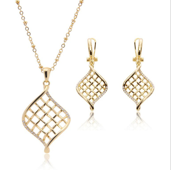 18kgp Grid Simple Jewelry Sets Fashion Crystal Necklace Earrings Set For Women Best Gift 10sets min order 61152210