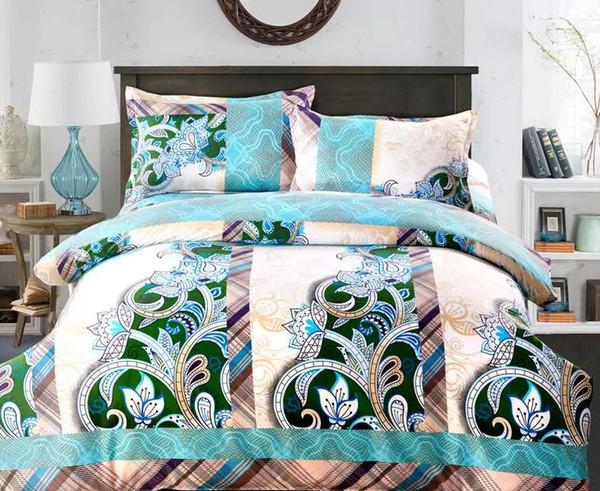 wholesale - Home textile thicken 1.6kg bedding sets Cotton cotton 4pcs Reactive Print Include Duvet Cover,BedSheet,Pillowcase