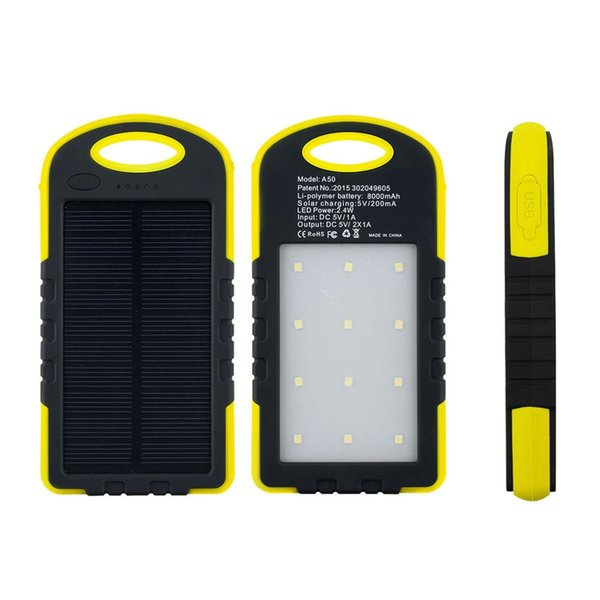 Outdoor Camping Solar Charger,8000mAh Solar Battery Charger Power Bank With Retail Package For Mobile Phones 12pcs LED Outdoor Camping Light