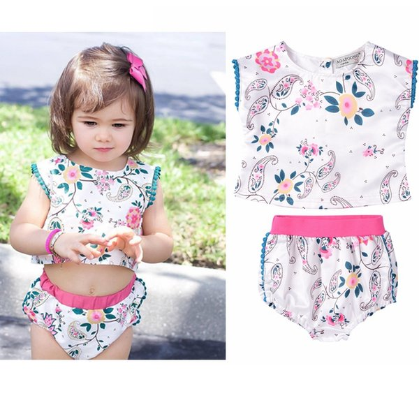 Floral Baby Girl 2 piece Set for Beach Holiday Style 2017 Christmas Aussie Cute Baby Outfits Boutique Clothing Sets for Baby Girls
