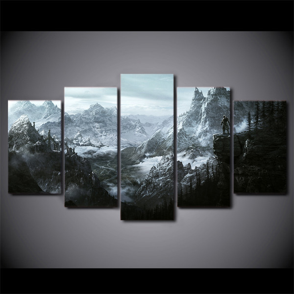 5 Pcs/Set Dragon Game Canvas Paintings Home Decor Wall Art Framed Posters HD Prints Pictures Painting