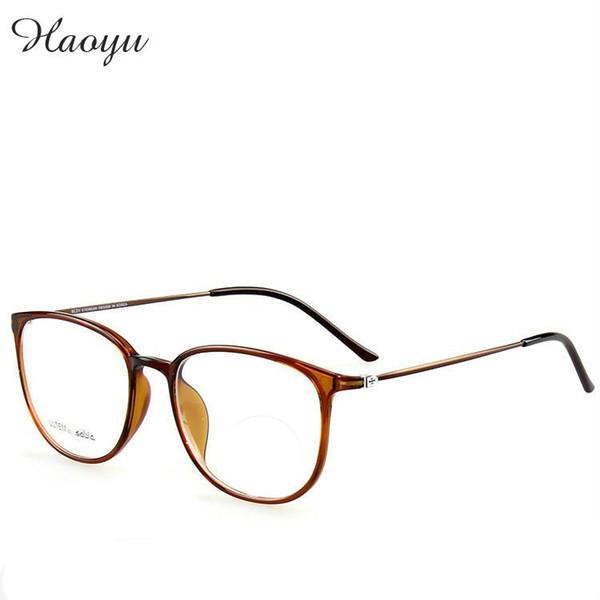 Al por mayor-haoyu retro vintage Super ligero resistente ULTEM plástico titanio anteojos marcos Elástico memoria piernas de acero sólo 6G oculos de grau
