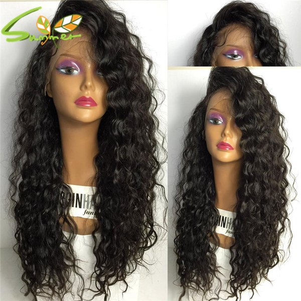 Long Deep Wave Lace Front Human Hair Wig With Baby Hair 100% Indian Virgin Hair Full Lace Wigs Color #1b For Black Women