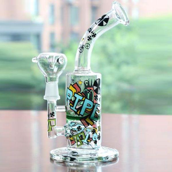 new Arrival Cool Colored Logo Glass Bong Oil Rig Percolator bongs Hookahs Smoking pipes Fashion bong Free shipping