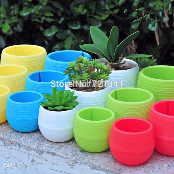 Wholesale-10pcs Colorful Plastic Plant Pots Water Storage Lazy Flower Pot Indoor Potted Home Garden Decor Planter SML