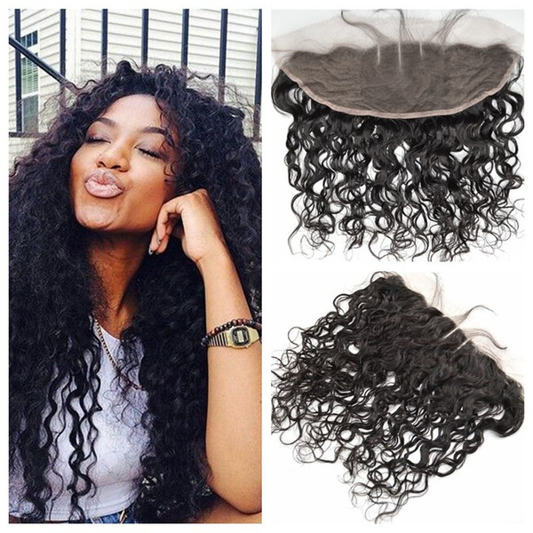 13x4 Full Frontal Lace Closure Indian Water Wave Human Hair Weave Free Middle Three Part Top Lace Frontals LaurieJ Hair