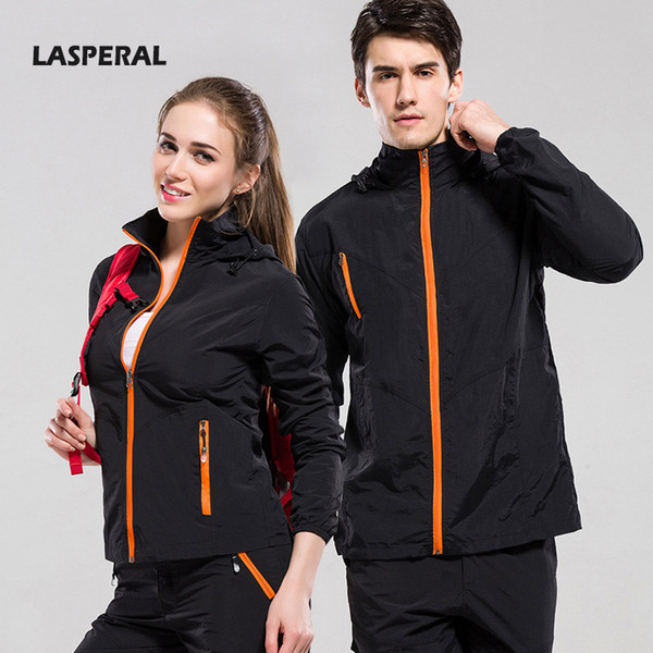 Wholesale- LASPERAL Quick Dry Women Men Running Sets Suits Jackets Sport Pants Couples Outdoor Climbing Hiking Fishing Jacket Sportswear