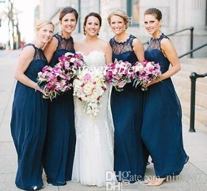 New Design Lace Bridesmaid Dresses Long Navy Blue Chiffon Backless Sheer Bateau Neck 2016 Cheap Summer Beach Maid of Honor Dress Party Gowns