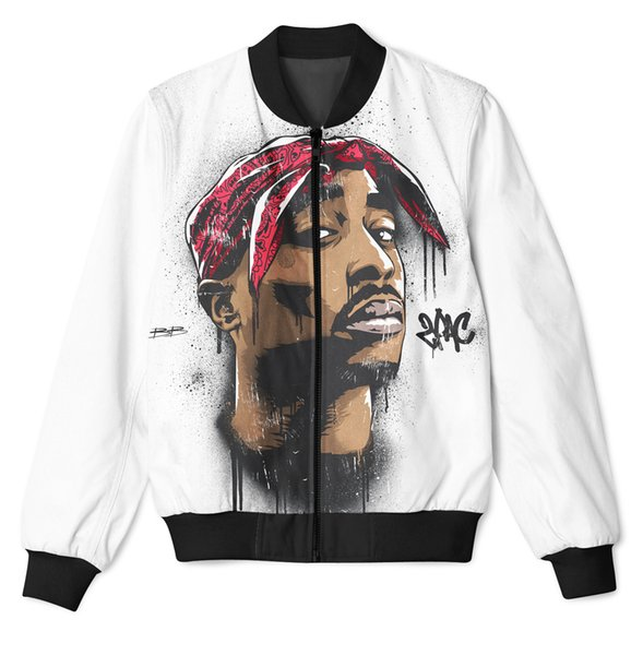Real USA Size Tupac - 2 Pac 3D Sublimation Print zipper up Jacket plus size