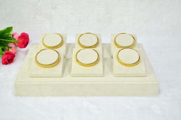 Jewelry Display Bracelet Stents Bangle Holder Stand Bangle Display Beige velvet Display 6 Pcs Bangle Stents Tray Beige Cases