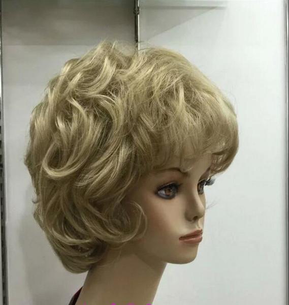 100% livraison gratuite Nouvelle Haute Qualité Mode Photo Indien Mongol wigssexy dames perruque courte Blonde Naturel Cheveux Synthétiques perruques