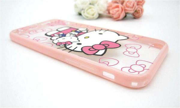 256226af0a2 Lindo encantador arco rosado Hello Kitty carcasa móvil para iPhone 5 5s 6  6S 6 más