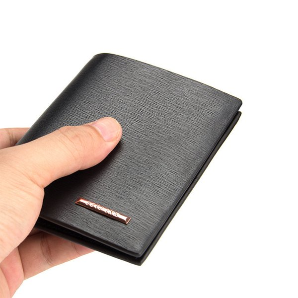 Wholesale- New Cross Vertical Portable Men's Wallets Quality PU Leather 2 Folds Business Black Coffee Colors ID  Holder Carteira
