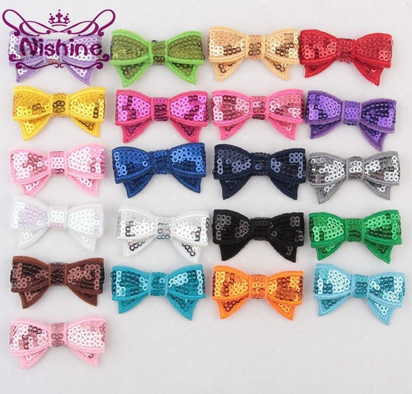 """Nishine 1.8"""" Embroideried Sequin Bows Applique Headband Clip Bows For Kids Girls DIY Hair Accessories(Color:21 Colors)"""