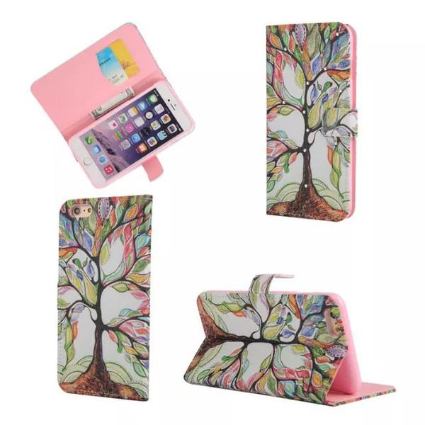 Pour Samsung A3 A5 A7 A8 S5 S6 Edge Note 4 5 Diamant Portefeuille Étui En Cuir tpu couverture maison girafe tour papillon Fleur