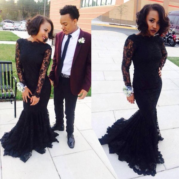 2019 New Long Sleeve Evening Gowns Modest Jewel Neckline Mermaid Court Train Lace Black Girls Prom Dresses Custom Made