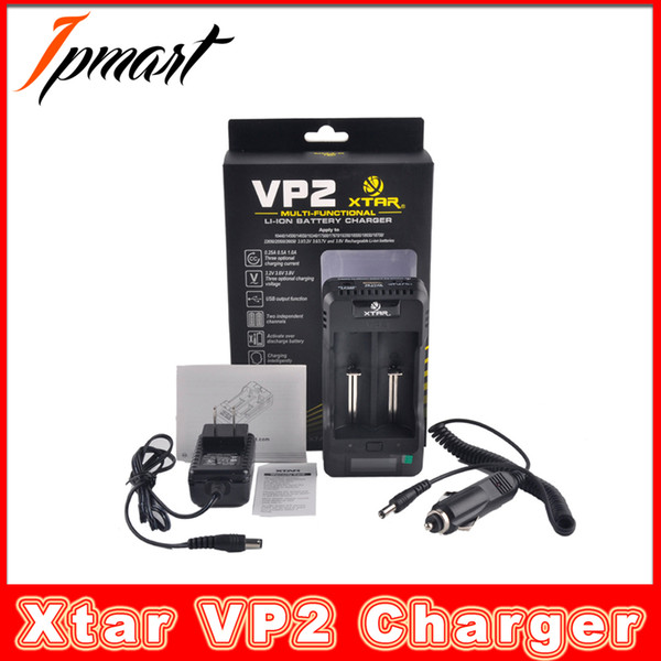 Authentic Xtar VP2 Charger Two Bay Inteligent Battery Charger Multi Functional with LCD Display UK UK EU Plug
