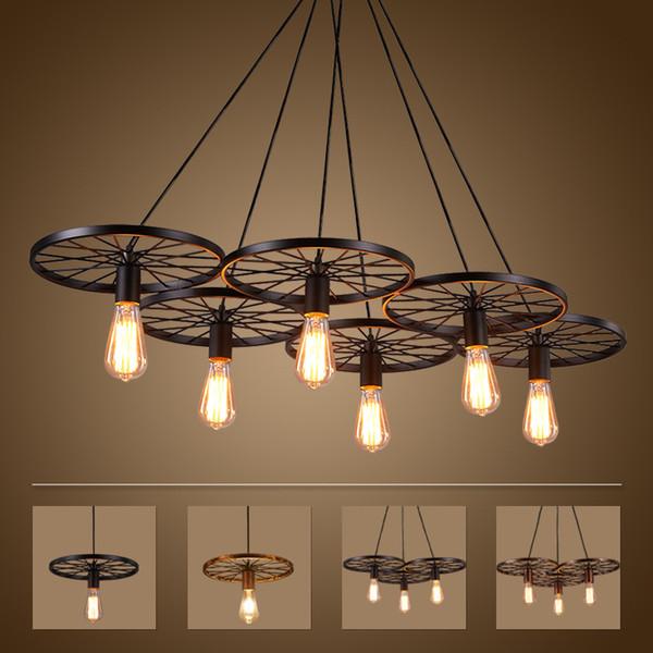 info for 5115a 91653 Vintage Wheel Ceiling Pendant Lights Modern Light Fixtures LED Lamps Home  Lighting Metal Industrial Edison E27 Holder 3/6Heads Lamp Maskros Pendant  ...
