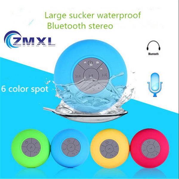 Wholesale- Mini Hifi Waterproof Wireless Bluetooth Speaker Portable Handsfree Mic Suction Shower Car Bathroom Speaker