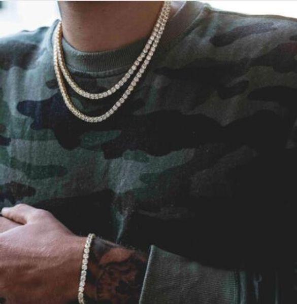 Hip Hop Gold Chain 1 Rangée Round Cut Tennis Collier Chaîne 20 pouces - 36 pouces Hommes Punk Glacé Sur Chaîne Strass Collier