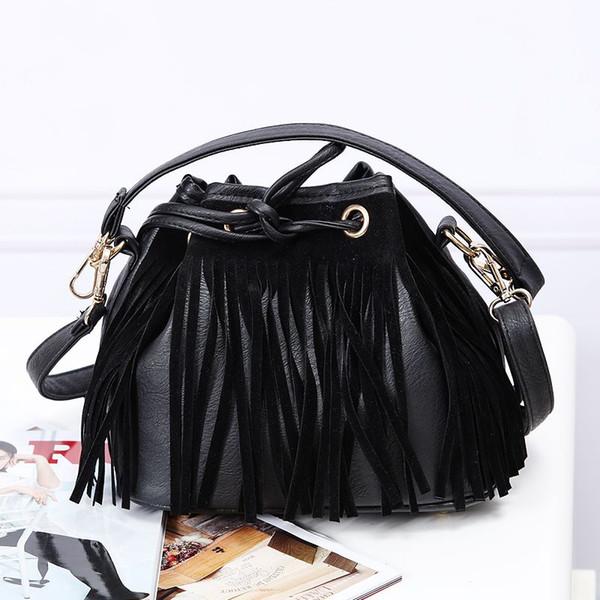 2015 new H counter genuine Black fringed shoulder bag Messenger Bag new black fringed tassel Clutch DHL Free shipping