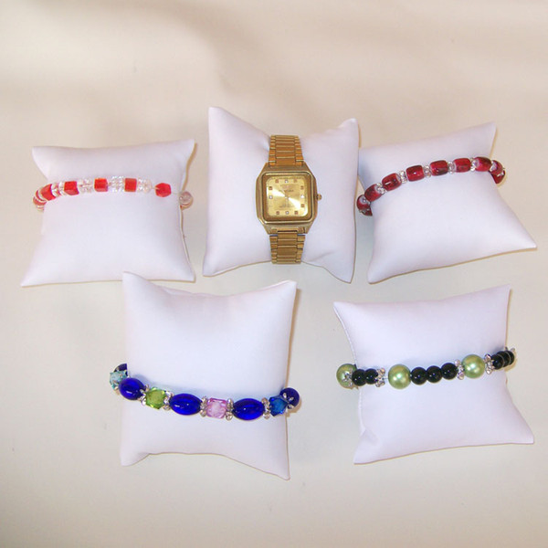 best selling Jewelry Display Pillow Watch Pillow White Display Jewelry Pillow Bracelet Watch Holder Bangle Stand Organizer Leather Decor 5PCS Lot