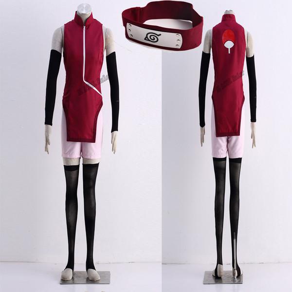 COS Anime HOT Sale NARUTO THE MOVIE Uchiha Sarada 1st Cosplay Costume Cheongsam Free Shipping Customize Uniform Handmade