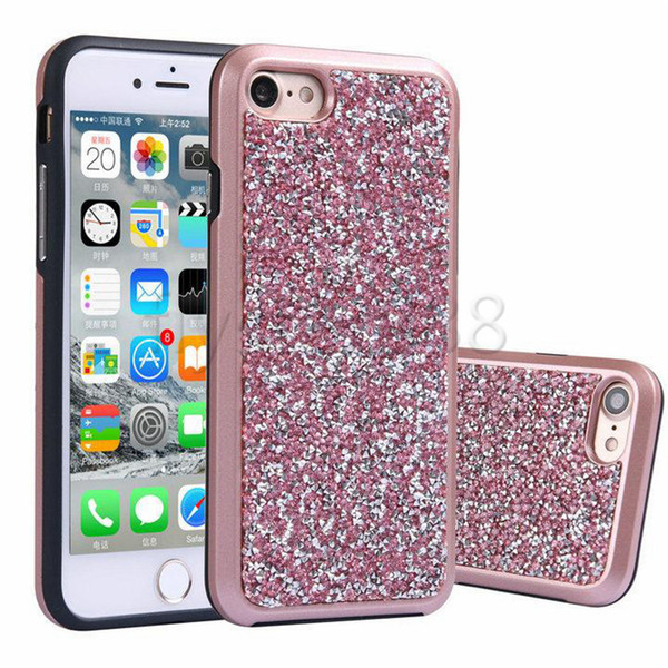 For iphone X 8 Plus Premium Bling 2 in 1 Luxury Diamond Rhinestone Glitter Back Cover Electroplate Phone Cases for NOTE 8 Samsung S8 Plus