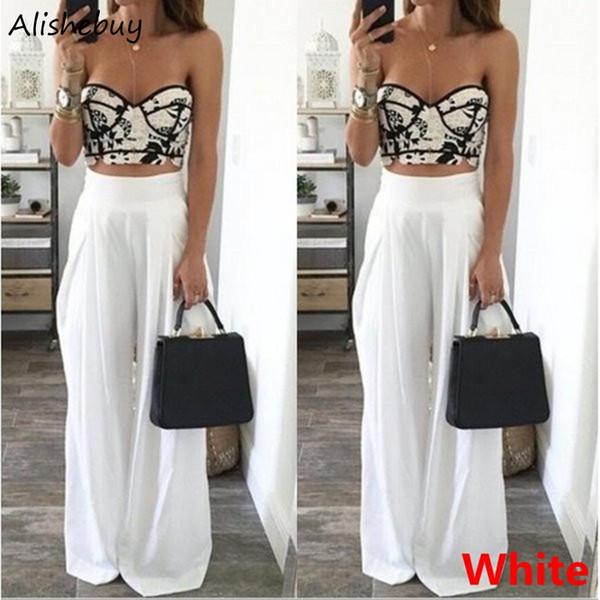 New Fashion Women Chiffon Pant Spring Summer Casual Office Ladies Wide Leg High Waist Long Pants Trousers Blue Black White SVH034019