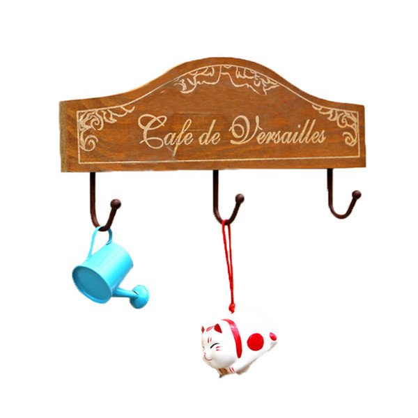 Wood Vintage Wall Hook Household Decor Wall Hanger House Key Hat Coat Door Clothes Hanging Rails