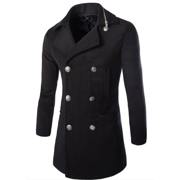 Fall-2016 Casual Fashion Chaquetas y abrigos para hombre Duffle Coat Stylish British Style Single Breasted Abrigo de guisantes para hombre Abrigo de lana