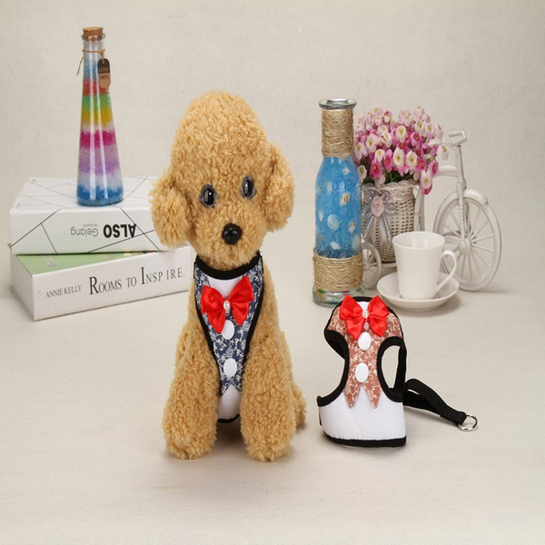 2pcs 7 Styles Creative Dog Traction Rope Puppy Dog Teddy Vest Style Personality Evening Dress Bow Backpack Pet Supplies Clothes Coat